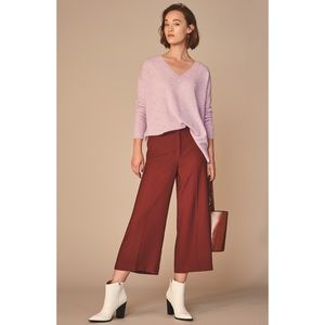 Halogen dark red wide leg cropped pant size 6 NWT